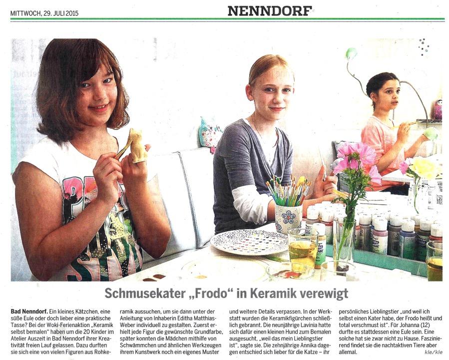 Atelier Auszeit Woki 2015 Kinder gestalten Keramikfiguren