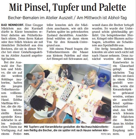Kinderferienaktion WoKi 2017 Atelier AusZeit Keramik Malerei